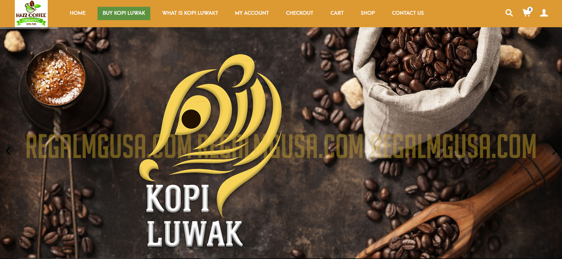 Hazz Coffee Regal MG Ecommerce Website Screenshot